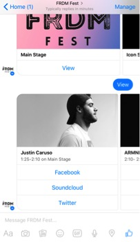 View of FRDM Fest Schedule within Messenger using HANS